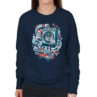 Waschmaschine Skateboard Damen Sweatshirt
