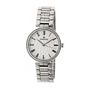 Empress Catherine Automatic Hammered Dial Bracelet Watch - Silver