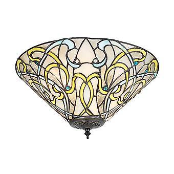 Dauphine médio estilo Tiffany luz dois Flush luminária de teto - interiores 1900 70700