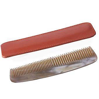 Dr Dittmar Horn Comb Coarse and Fine Teeth - Brown Leather Case
