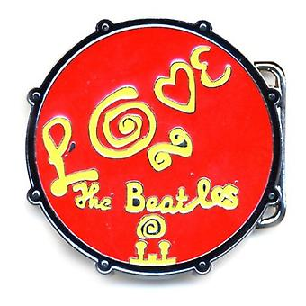 The Beatles Belt Buckle Love Drum Band logo Red new Official Metal