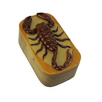 Ręcznie rzeźbione drewniane Scorpion cacko zagadkowe pudełko