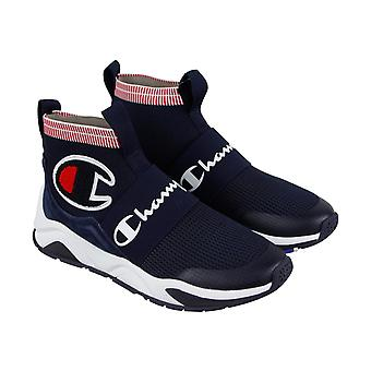 Champion Rally Pro  Mens Blue Canvas Casual High Top Sneakers Shoes