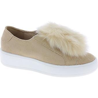 ستيف مادن المرأة & ق منصة أحذية رياضية Laceless جلد الغزال البيج والفراء