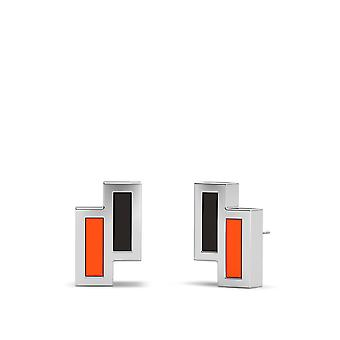 Anaheim Ducks Sterling Silver Asymmetric Enamel Stud Earrings In Black and Orange
