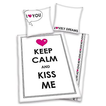 Keep Calm & Kiss Me Single Peřina a povlak na polštář Set - Evropská
