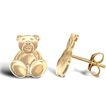 Jewelco London Ladies 9ct Yellow Gold Happy Teddy Bear Stud Boucles d'oreilles