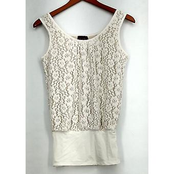 Kathleen Kirkwood Top XXS Undercover Agent Lace Overlay White A224299
