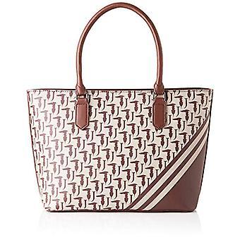 Trussardi Jeans New Vanilla Shopping Logo Monogram Stripes Brown Women's Cross bag (Brown/Beige) 30x23x13 cm (W x H x L)