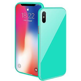 Magnetgehäuse mit farbigem Rückenglas für iPhone Xs Max – Grün