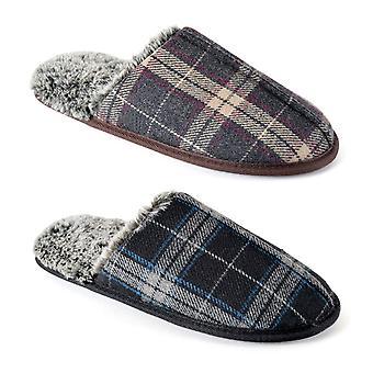 Checkered Print Memory Foam Open Back Slip On Mule Slippers For Men/Teen Boys UK/EU Sizes