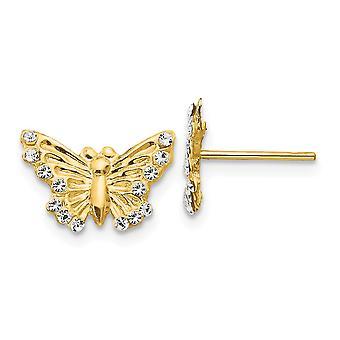 14k ouro amarelo texturizado polonês borboleta borboleta anjo asas post brincos joias para mulheres