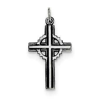 925 Sterling Argent Solide Satin Antique finition AntiqueD Celtic Cross Pendant - .8 Grammes