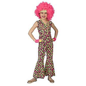 Flower Power Neon Mädchenkostüm Disco Hippie Mädchen Kostüm