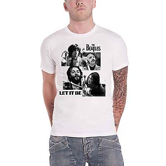 The Beatles T Shirt Let It Be Photos Band Logo new Official Mens White