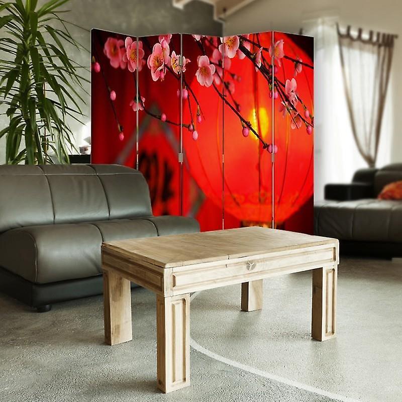 Diviseur de chambre, 5 panneaux, toile, lanterne japonaise