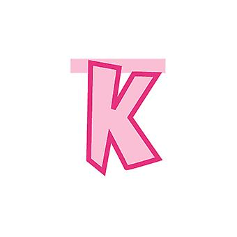 Linking Banner 20cm Pink Letter - K Party Decoration
