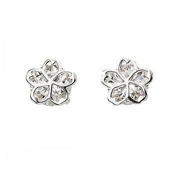 Beginnings Sterling Silver Cubic Zirconia Stud With Flower Overlay Earrings E5752C