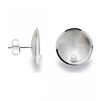 bastian inverun - 925 silver stud earrings with breeding bead, white - 22751