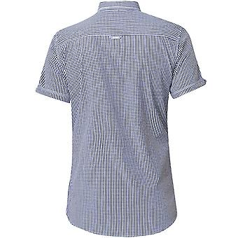 Duke D555 Mens Hank Gingham Big Tall King Size Buttoned Short Sleeve Shirt Navy