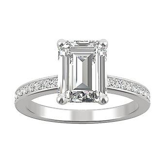 14K hvid guld Moissanite af Charles & Colvard 9x7mm Emerald engagement ring, 2.70 cttw DEW