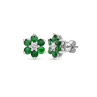 Jewelco London 18ct 2 Colour Gold G SI 0.21ct Diamond and Green 1.35ct Emerald 7 Stone Flower Cluster Stud Earrings