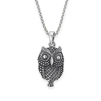 "Folklore Inspired Owl Shaped Necklace Pendant - Includes A 20"" Silver Chain"