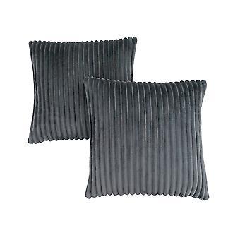 "18"" x 18"" Grey, Ultra Soft Ribbed Style - Pillow 2pcs"
