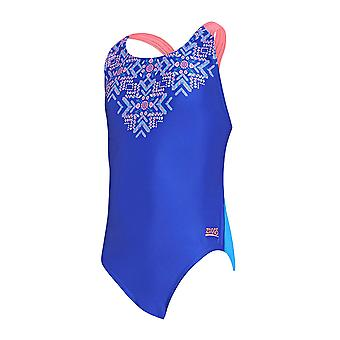 Zoggs lumottu tyttö ' s flyback yksiosainen uimapuku sininen/Multi Eco kangas