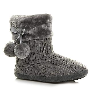 Ajvani womens winter pom pom fur lined comfort knitted ankle slipper boots booties