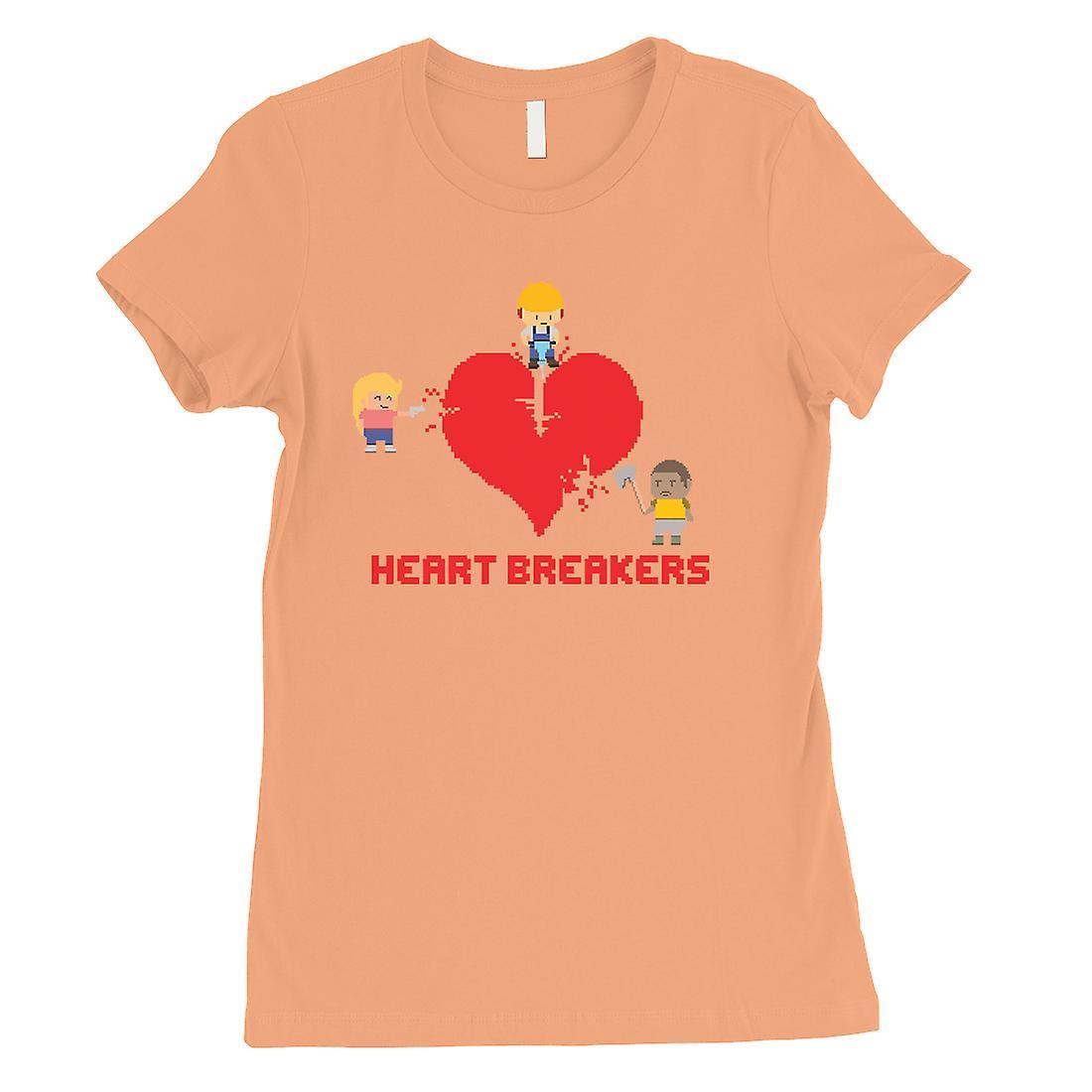 Heart Breakers Womens Peach Humorous Anniversary Cadeau T-Shirt