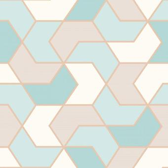 Duck Egg Gold Geometric Hexagon Wallpaper Metallic Sheen Glitter Modern Rasch