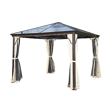 Outsunny 3 x 3 Meters Patio Aluminium Gazebo Canopy Marquee Party Tent Hardtop Roof Garden Shelter w/ Mesh & Side Walls