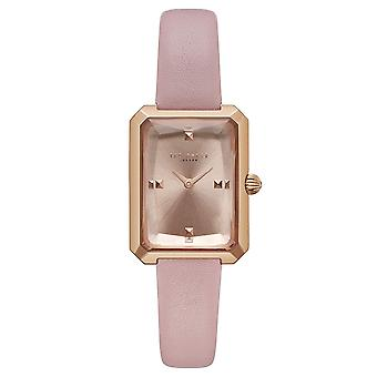 Ted Baker Kate Quartz Retro Square Rose Gold Dial Pink Leather Strap Ladies Watch TE50270001