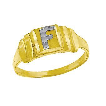 10k Two tone Gold baby voor jongens of meisjesLetter Naam Gepersonaliseerde Monogram Initial F Band Ring Maatregelen 6.3x2.50mm Wide S
