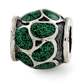 925 Sterling Silver reflections esmalte verde con brillos abalorios encanto colgante collar regalos de joyería para las mujeres