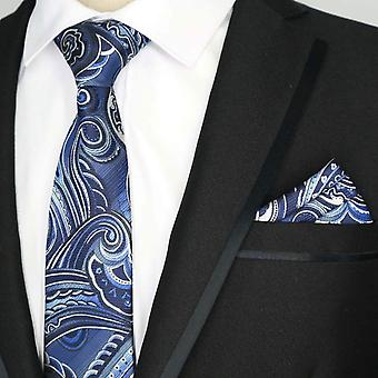 Blue & white rainbow patterned pocket square & tie set