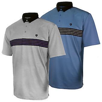 Island Green Mens 2020 Chest Stripe UV Protection Golf Polo Shirt