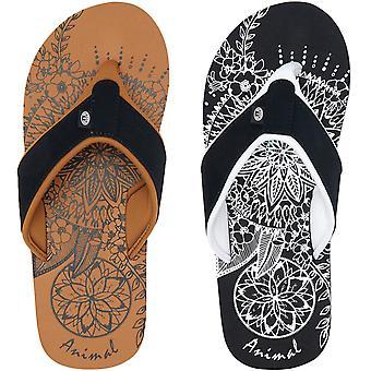 Tier Damen Swish Platzierung Sommer Slip on Beach Urlaub Flip Flops Sandalen