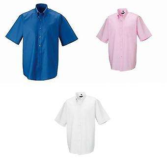 Russell Collection Mens Short Sleeve Easy Care Oxford Shirt