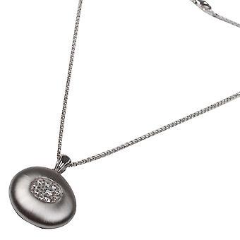 Nour London Diamante Satin Finish Pendant Necklace