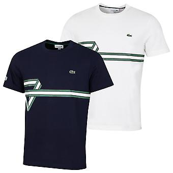 Lacoste Mens TH5166 Räfflad krage bomull krokodil band T-shirt