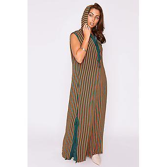 Djellaba roxane sleeveless side slits hooded maxi dress in green and orange stripes