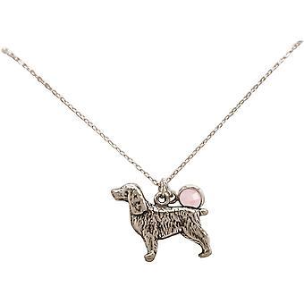 GEMSHINE halskjede 3-D spaniel hund 925 sølv, gullbelagt eller rose - rose kvarts