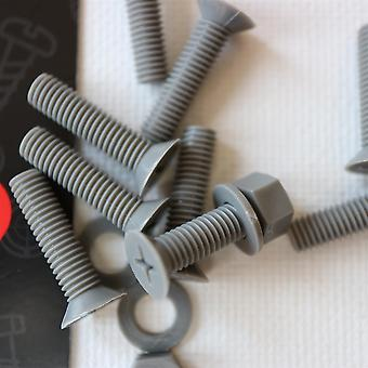 20x Grey Countersunk Polypropylene (PP) Nuts, Bolts, Washers M5 x 20mm