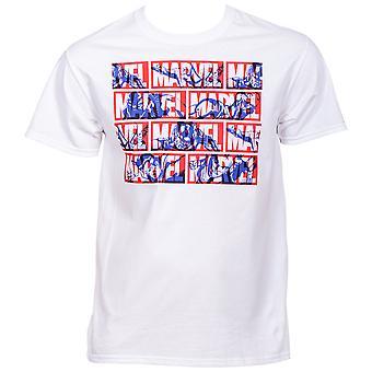 Marvel Brand Tekst titel met Hero Silhouettes T-shirt