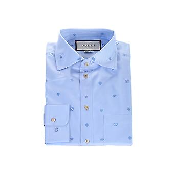 Gucci 597962zac244910 Men's Light Blue Cotton Shirt