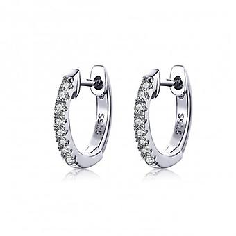 Silver Earrings Sparkling Circle White - 6538