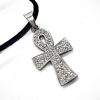 Sparkly ankh stainless steel necklace