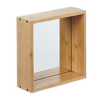 Spiegel Holzregal, Chrom in Bambu', Spiegel 26x9x26 cm